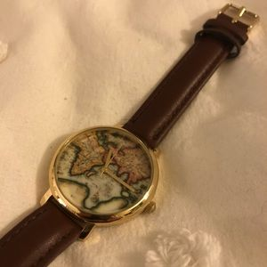 Urban Outfitters Leather Globe watch